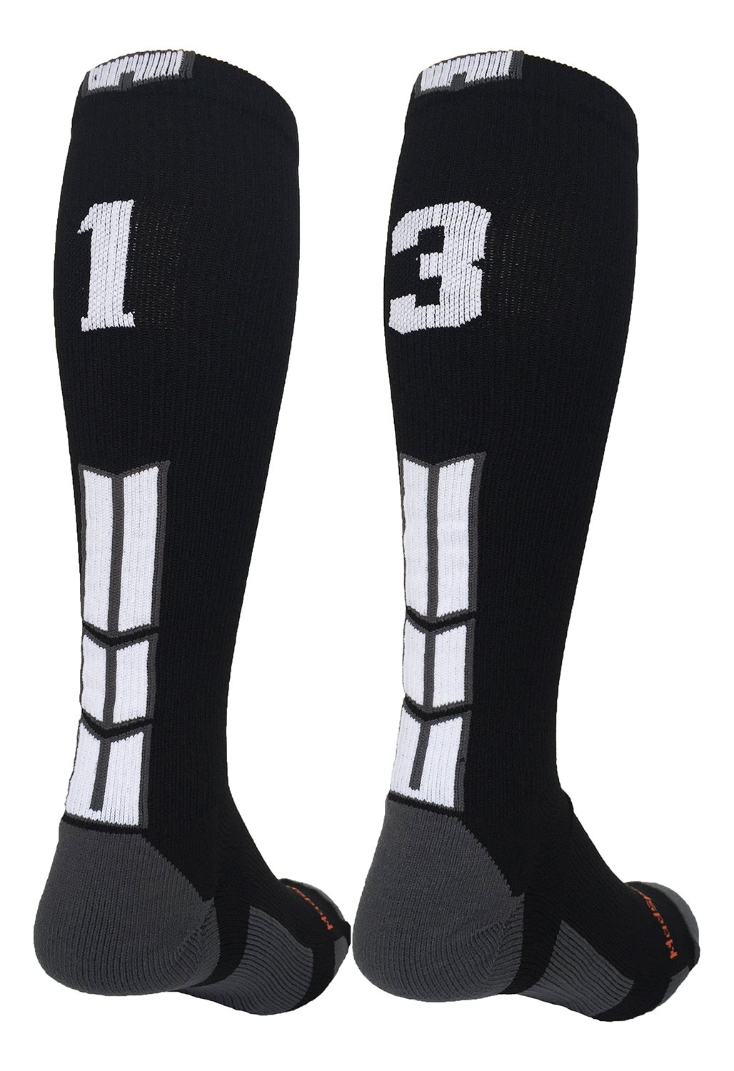 MadSportsStuff Player Id Black/White Over The Calf Number Socks (#13, Small)