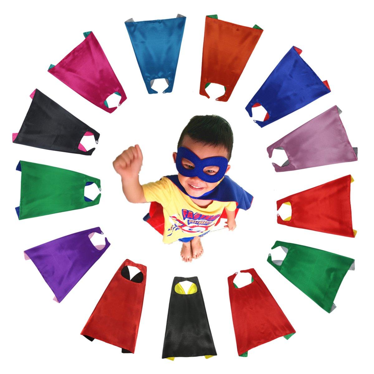 RANAVY Superhero Capes and Masks Bulk Set Dress up for Kids - Children DIY Birthday Party Costumes (13 PCS(27''x27''))