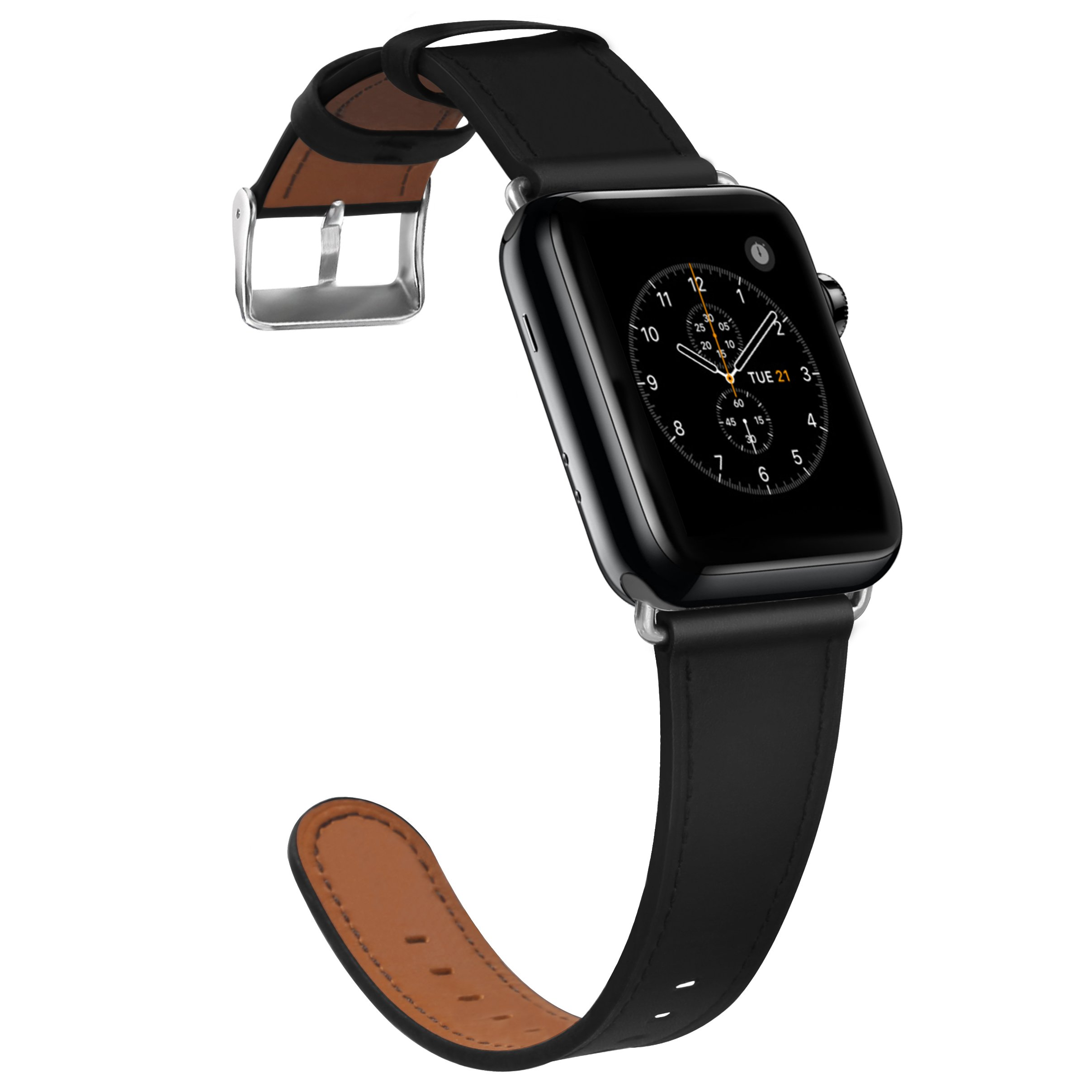 Compatible Apple Watch Band, COVERY 38MM iWatch Band Genuine Leather Strap Stainless Metal Buckle Compatible Apple Watch Series 3, Series 2, Series 1, Sport & Edition- Black by COVERY (Image #1)