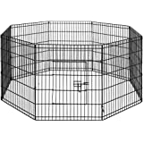 "30"" Foldable Pet Dog Puppy Playpen Portable Exercise Cage 8 Panel Black"