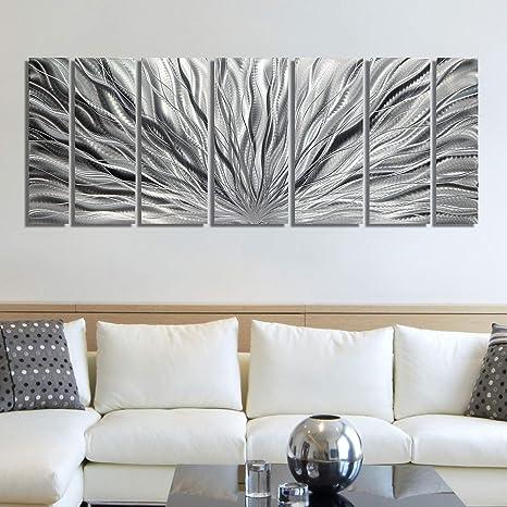 Metal Wall Art Panels ULTRA MODERN Silver Abstract SIGNED ORIGINAL ART Jon Allen