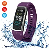 RimeU Activity Fitness Tracker Bluetooth Smart Bracelet With 0.96 Inch IPS Touch Screen EMFS Energy Core Sports Watch IP68 Waterproof Wristband Pedometer Heart Rate Blood Pressure Sleep Monitor Alarm for Android iOS Samsung LG Xiaomi Moto iPhone Gift for Women Men Friends Kids Parents