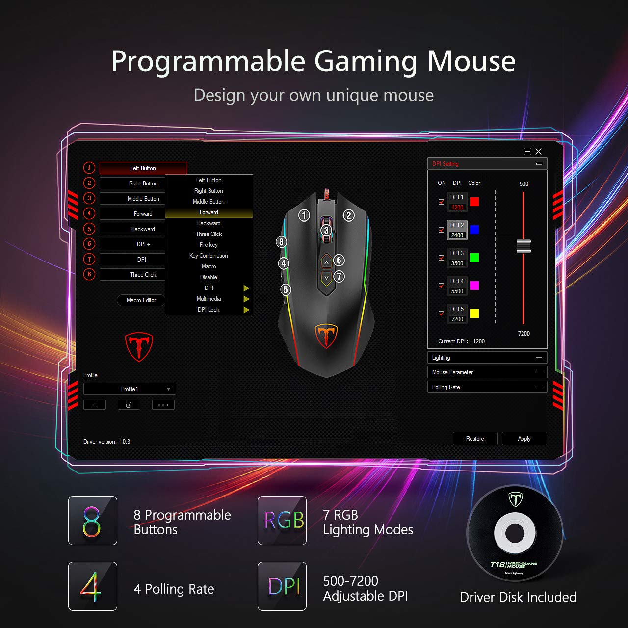PICTEK Gaming Mouse Wired, 8 Programmable Buttons, Chroma RGB Backlit, 7200 DPI Adjustable, Comfortable Grip Ergonomic Optical PC Computer Gaming Mice with Fire Button, Black (Upgraded Version) by PICTEK (Image #2)