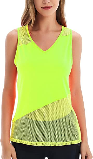 Yucharmyi Womens Open Back Tops Mesh Yoga Shirt Sport Tops Workout Tops Activewear