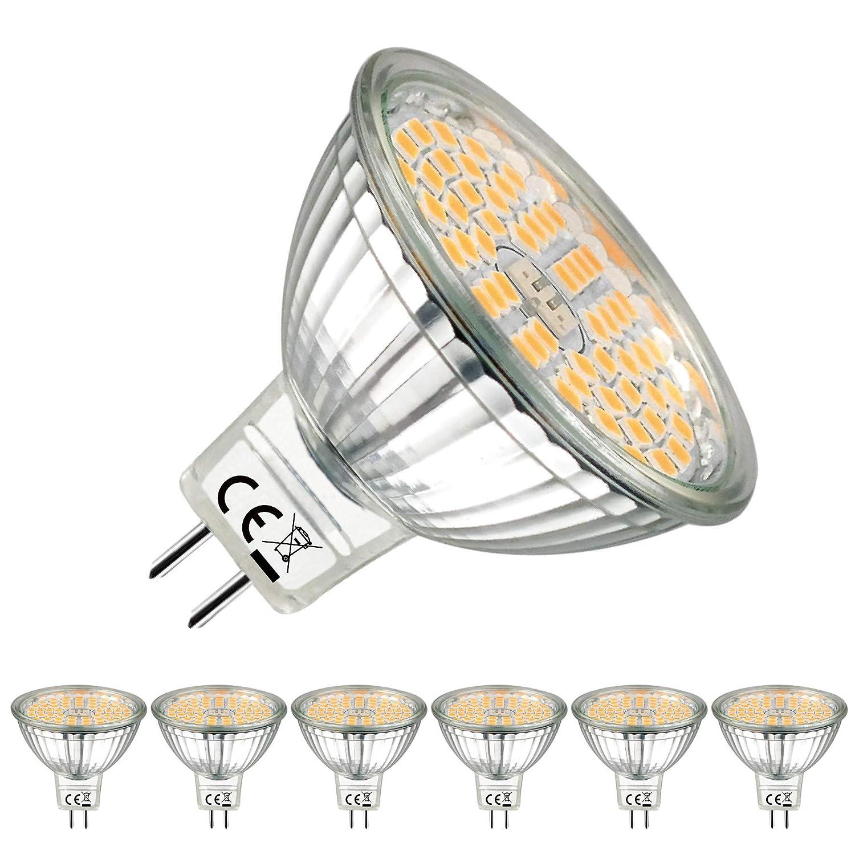 EACLL Bombillas LED GU5.3 2700K Blanco Cálido MR16 12V 5W 500 Lúmenes Equivalente 60W Halógena. 120 ° Luz Blanca Cálida Lámpara LED, Pack de 6