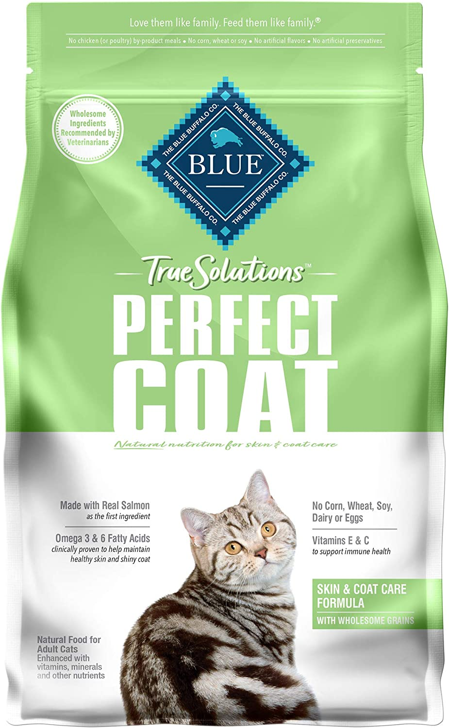 Blue Buffalo True Solutions Perfect Coat Natural Skin & Coat Care Adult Dry Cat Food and Wet Cat Food