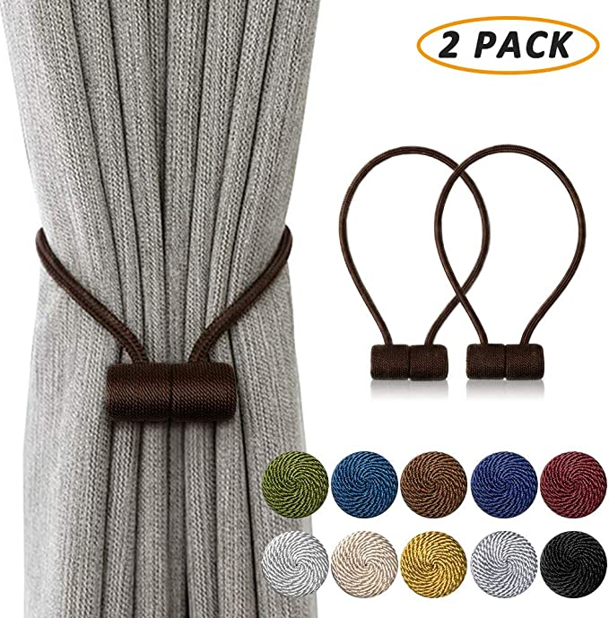 Big Christmas Gift Set of 2 Wooden Round Decorative Curtain Tiebacks//Holdbacks for Home Decor Brown Color and Multi Design 6 Inch