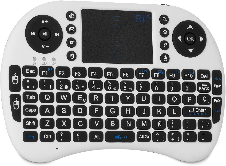 Rii Mini i8 Wireless (Layout Español) - Mini Teclado ergonómico con ratón touchpad, Color Blanco: Amazon.es: Informática
