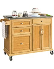 SoBuy FKW70-N,Carrito de Cocina con Piso de Acero, estantería de Cocina