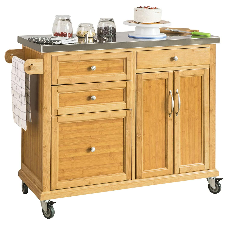 SoBuy® Luxus-Carrito de cocina con piso de acero, estantería de cocina, carrito de servir de bambú de alta calidad L115 x P46 x H92cm, FKW70-N.ES: ...