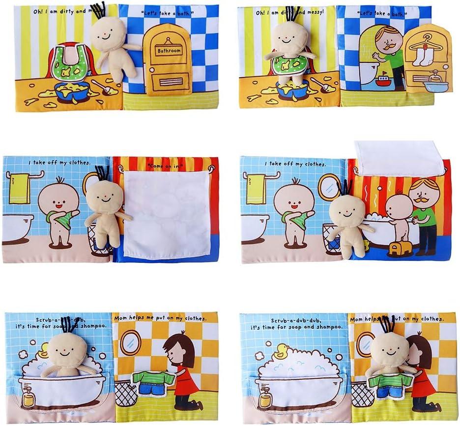 Yalatan Soft 3D Baby Cloth Book of Bath Toy Potty Infant Desarrollo cognitivo temprano Libros silenciosos Libro de Actividades para ni/ños
