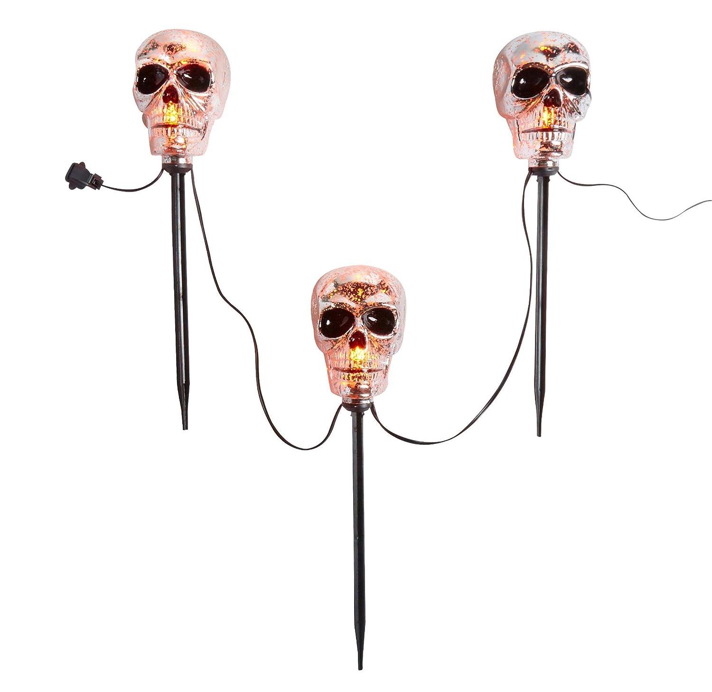 amazoncom halloween skull path lights set of 3 indoor outdoor patio lawn garden - Halloween Pathway Lights