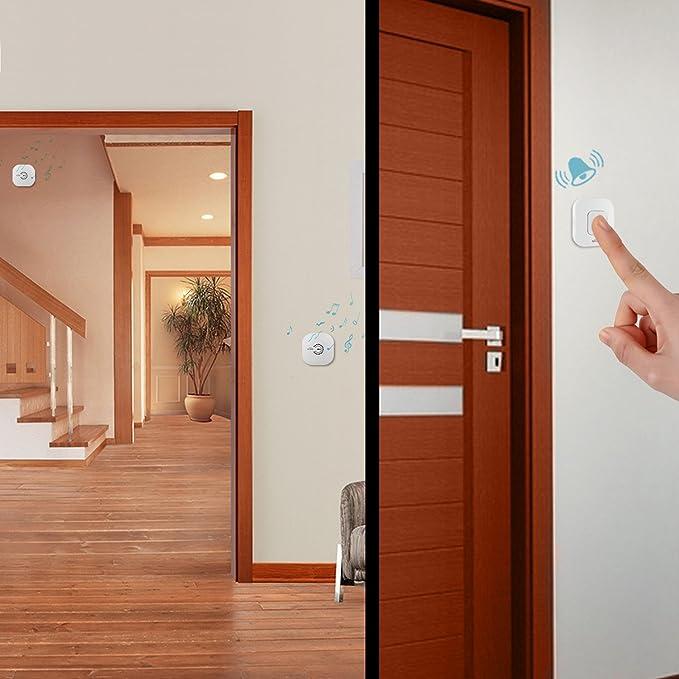SIMBR Timbre Inalámbrico Timbr para puerta, 2 Transmisor y 1 Receptor, Timbre Puerta Portátil,Color Blanco: Amazon.es: Bricolaje y herramientas