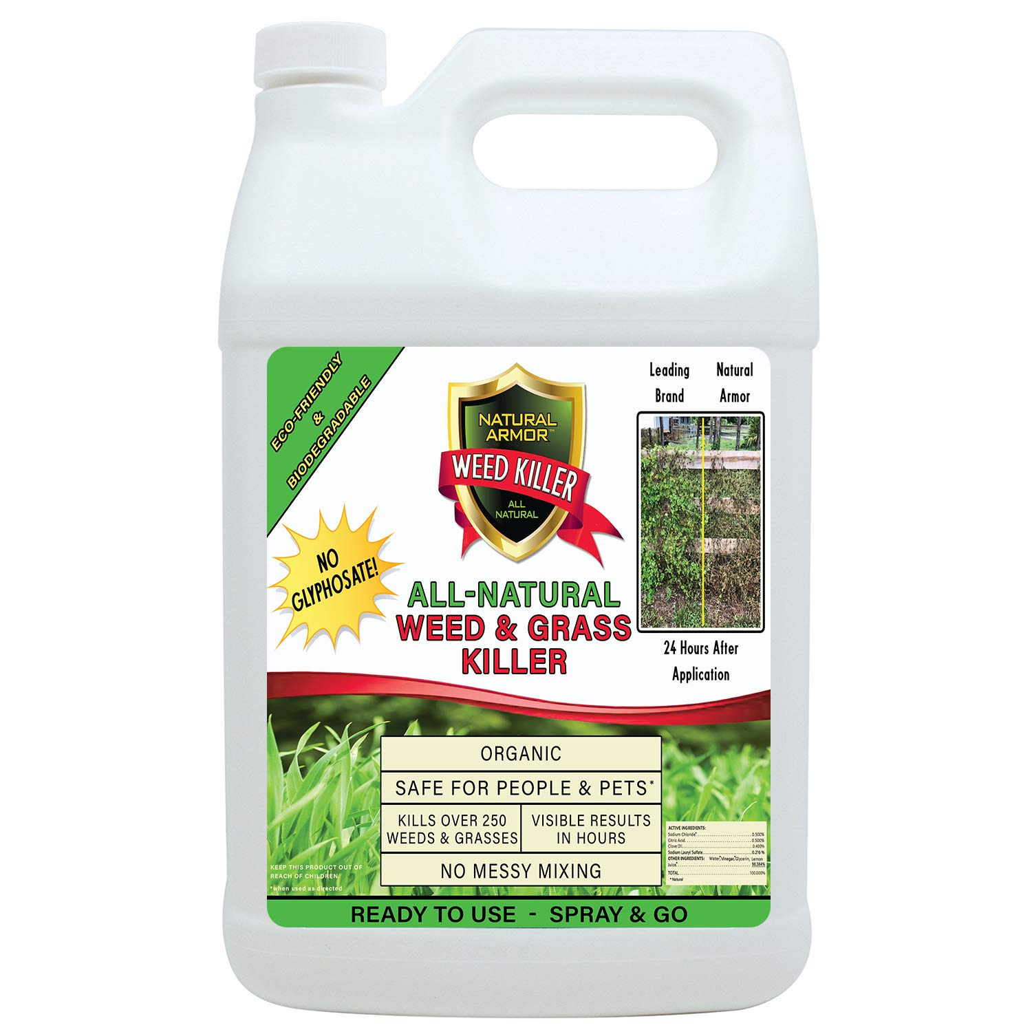 Natural Armor Weed and Grass Killer All-Natural Concentrated Formula. Contains No Glyphosate (2.5 Gallons) Pet Safe