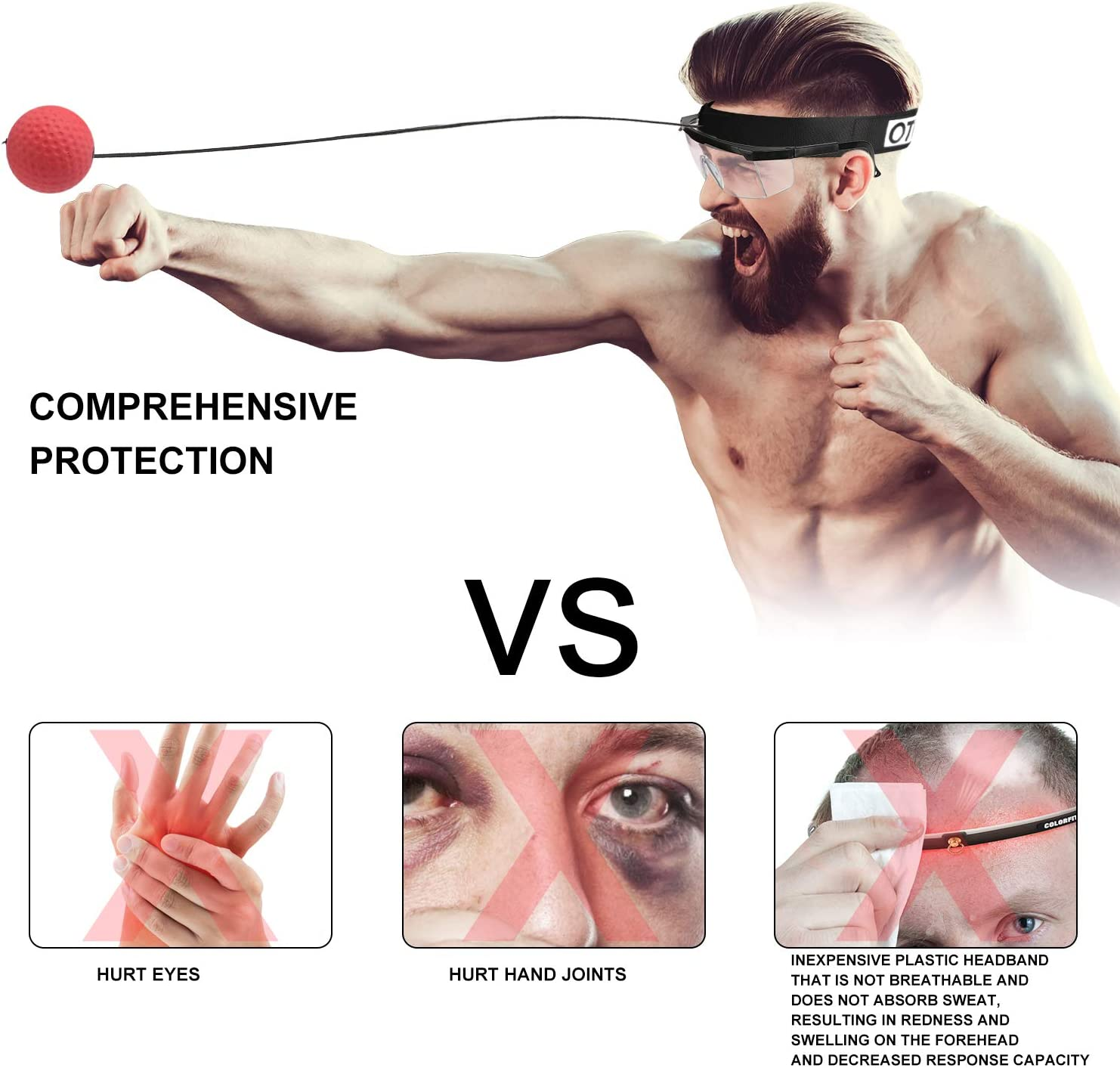 Boxing Training Ball OOTO Upgraded Boxing Reflex Ball Mma Speed Training Suitable for Adult//Kids Best Boxing Equipment for Training Hand Eye Coordination and Fitness.