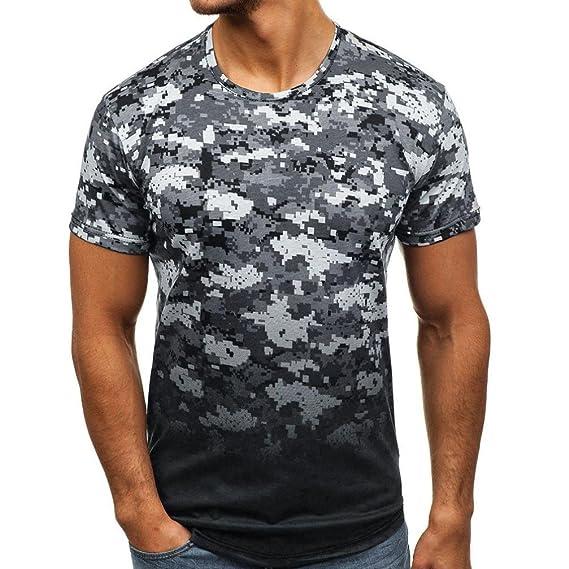 RETUROM -Camisetas Camiseta para Hombre, Manga Corta con Cuello Redondo y Estampado de Camuflaje