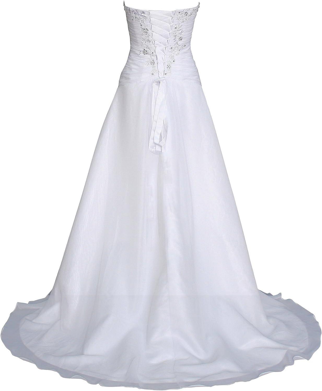 Romantic-Fashion Brautkleid Hochzeitskleid Weiß Modell W13 A-Linie Lang  Chiffon Trägerlos Perlen Pailletten DE