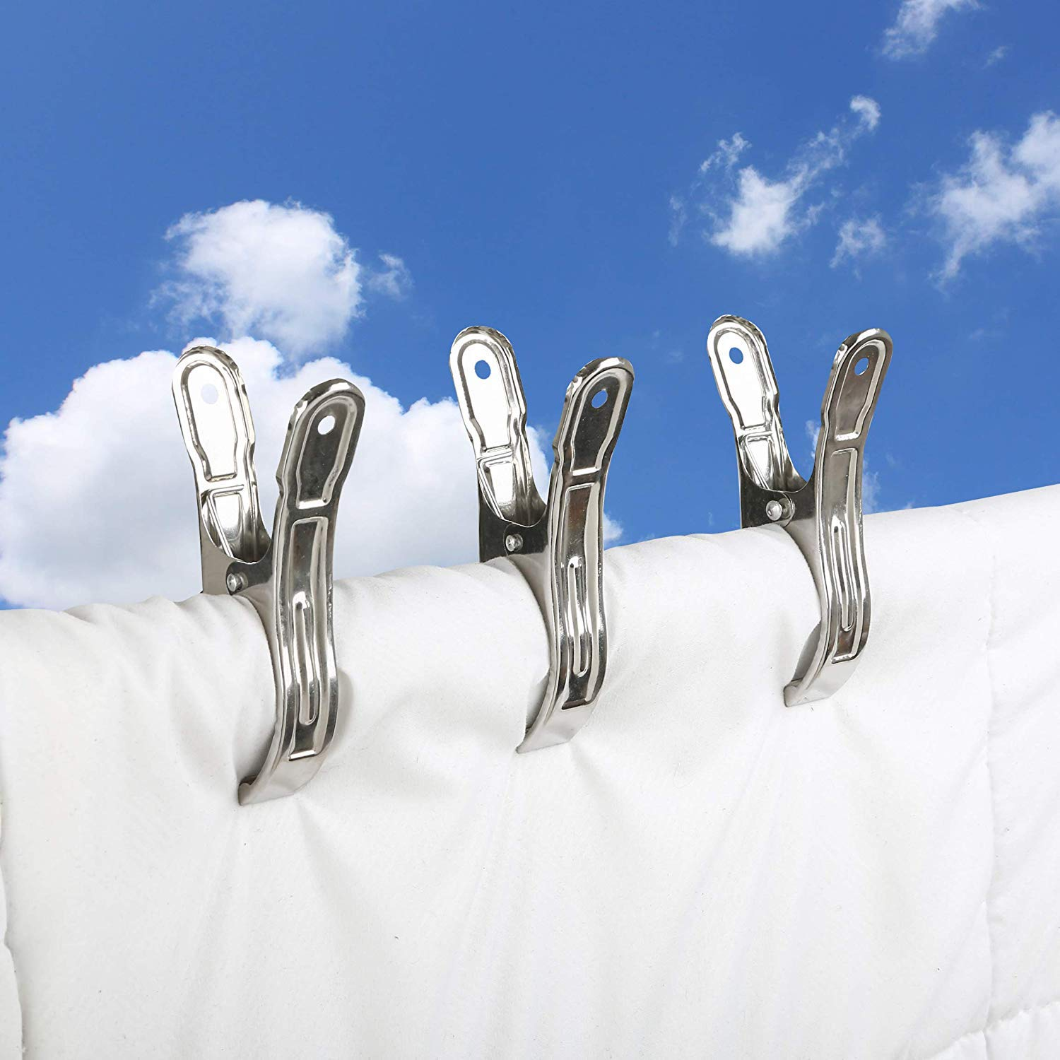 Set of 12 Pcs Akaas Sunshine Universal Stainless Steel Clothes Clips Hanging Clips Multipurpose Cloth Clips