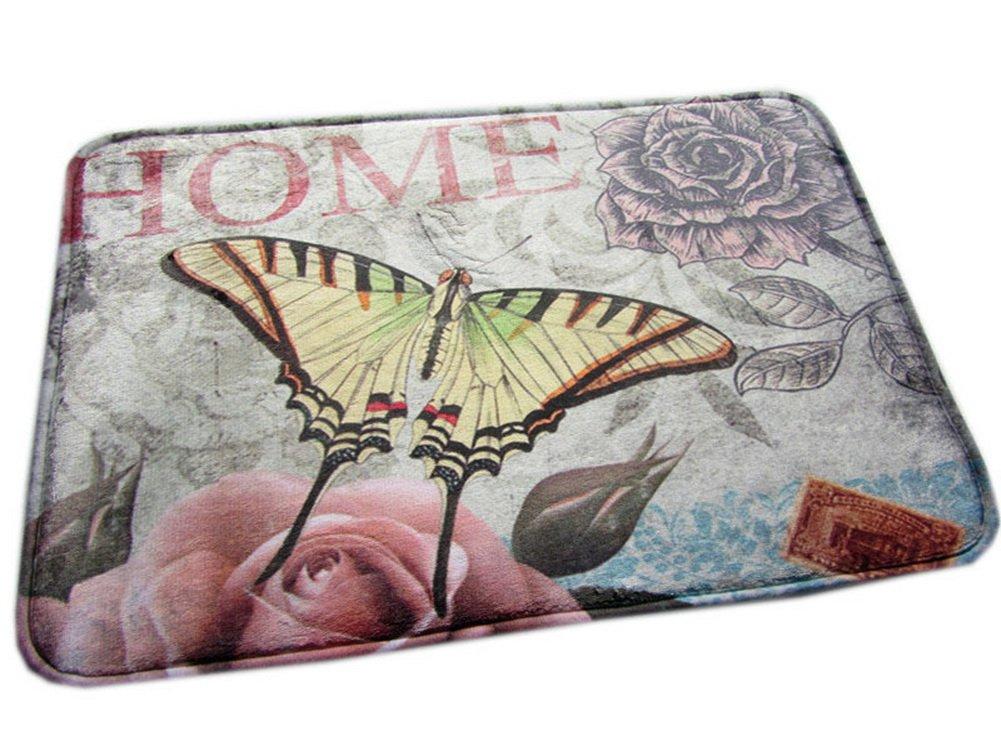Vintage Flannel Door Rug Butterfly Floral Print Rug PANDA SUPERSTORE PS-HOM3735811-EMILY02375