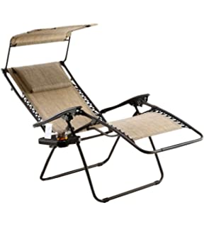 Just Relax Zero Gravity Chair With Pillow, Canopy, And Clip On Table (