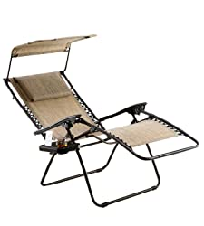 Just Relax Zero Gravity Chair with Pillow, Canopy, and Clip-On Table