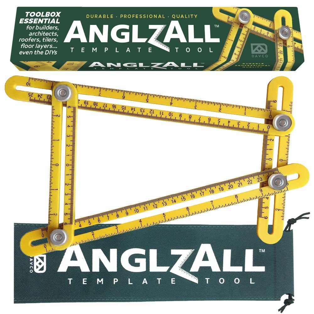 Angle-izer Premium Multi-Angle Measuring Ruler Template Metal Tool ANGLZALL ™ - All Angles and Forms - Instrument for Builders Craftsmen Tilers Handymen Carpenter Roofers DIY