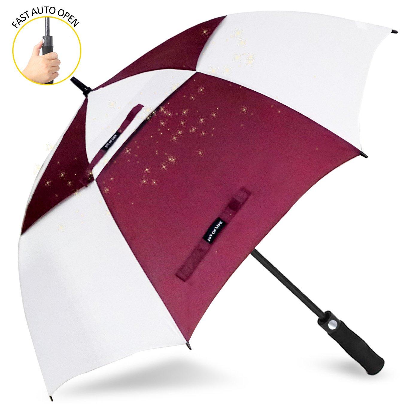 ゴルフ傘 長傘 ワンタッチ 自動開け大きな傘 100cm 梅雨対策 台風対応 ビジネス用 メンズ B077MTSRCB 傘の長さ100cm(62inches)|赤/白 赤/白 傘の長さ100cm(62inches)