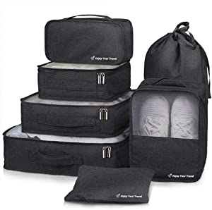 Packing Cubes VAGREEZ 7 Pcs Travel Luggage Packing Organizers Set with Laundry Bag (Black)
