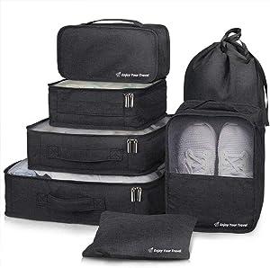Packing Cubes VAGREEZ 7 Pcs Travel Luggage Packing Organizers Set with Laundry Bag (Black)