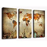 Amazon Price History for:Wall Art World Map Canvas Art Vintage Map of the World Pictures, 3 Pieces Large Modern Old Map Painting Artwork Contemporary Wall Decor Travel Memory for Home Office Decoration Framed Ready to Hang