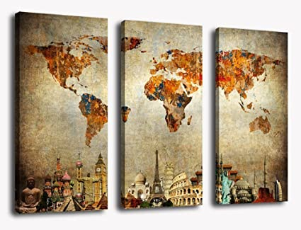 Amazon world map canvas wall art painting contemporary vintage world map canvas wall art painting contemporary vintage map artwork pictures 3 piece large canvas teraionfo