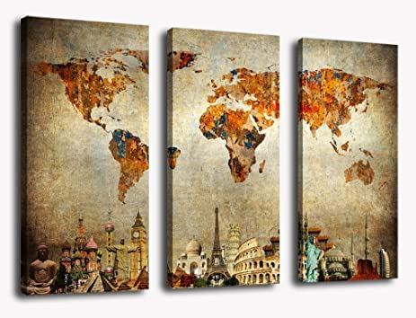 Amazon wall art canvas painting vintage travel world map wall art canvas painting vintage travel world map painting contemporary pictures modern artwork prints on canvas gumiabroncs Choice Image
