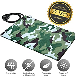 Petfactors Indoor Pet Heating Pad, 7-Level Controller DC15.6V Low Voltage Safety Electric Waterproof Heated Bed with Thermostat and Adapter, Removable and Washable Fleece Cover for Easy Maintenance