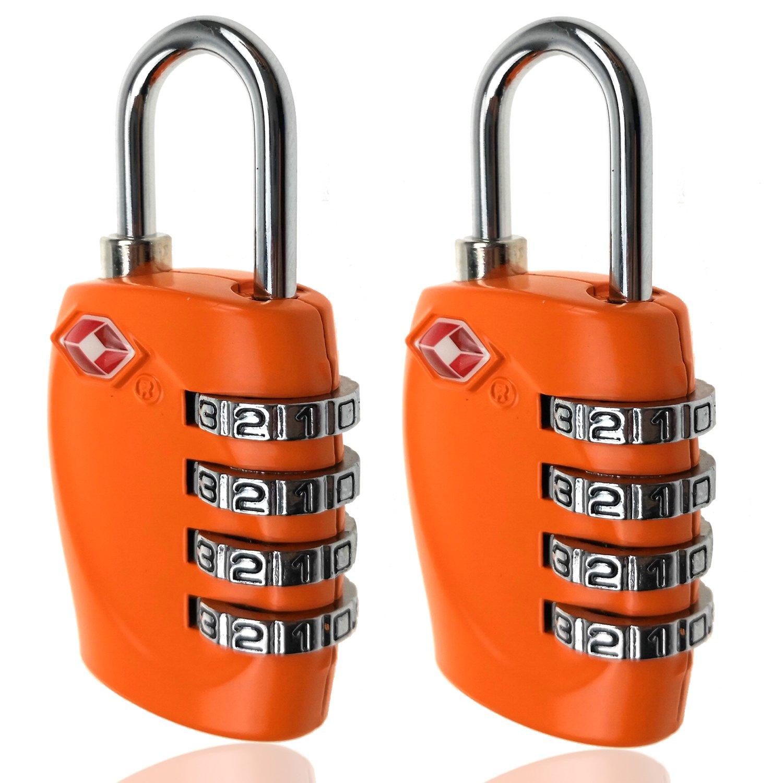TSA Luggage Locks, 4 Digit Combination Steel Padlocks, Approved Travel Lock for Suitcases & Baggage (2 Pack)