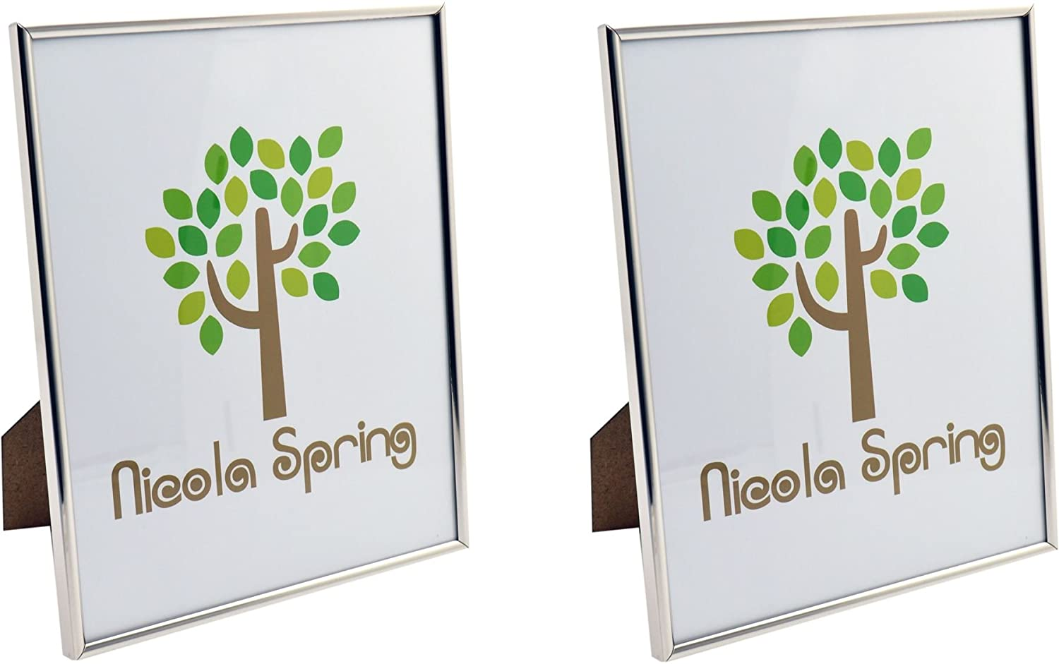 Nicola Spring Metal 8x10 Photo Frame. Silver Colour - Standing - Pack Of 2