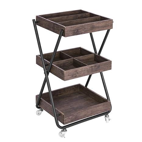 FurnitureR Vintage marrón oscuro acabado soporte para mango de servicio de utilidad Rolling almacenamiento cocina oficina