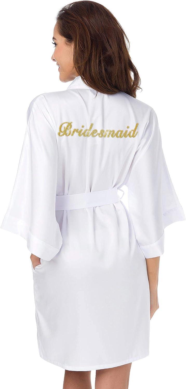 White Satin Robe Three Quarter Length Silk Kimono Bridal Party Sizes 6 to 24