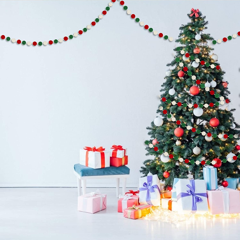 Christmas Pom Pom Garlands for Christmas Tree- Xmas Holiday Indoor Outdoor Home Office Hanging Decor 60 Balls Christmas Wool Felt Ball Garlands Xmas Decorations- 25mm Christmas Decorations