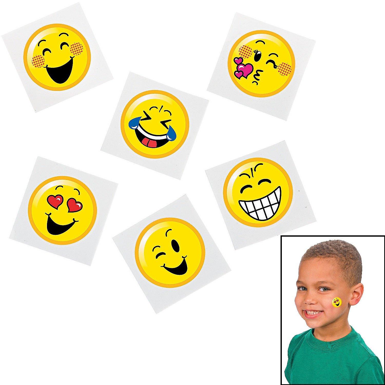 Emoticon Emoji Smiley Face Tattoo Assortment - 72 pc