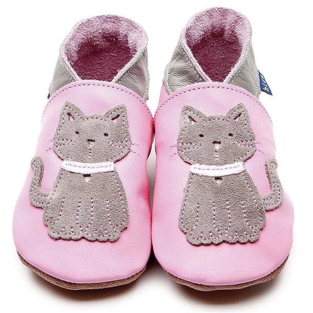 Inch Blue Bleu de Luxe pour bébé Fille en Cuir Souple Semelle Chaussures Landau–Meeow bébé Rose