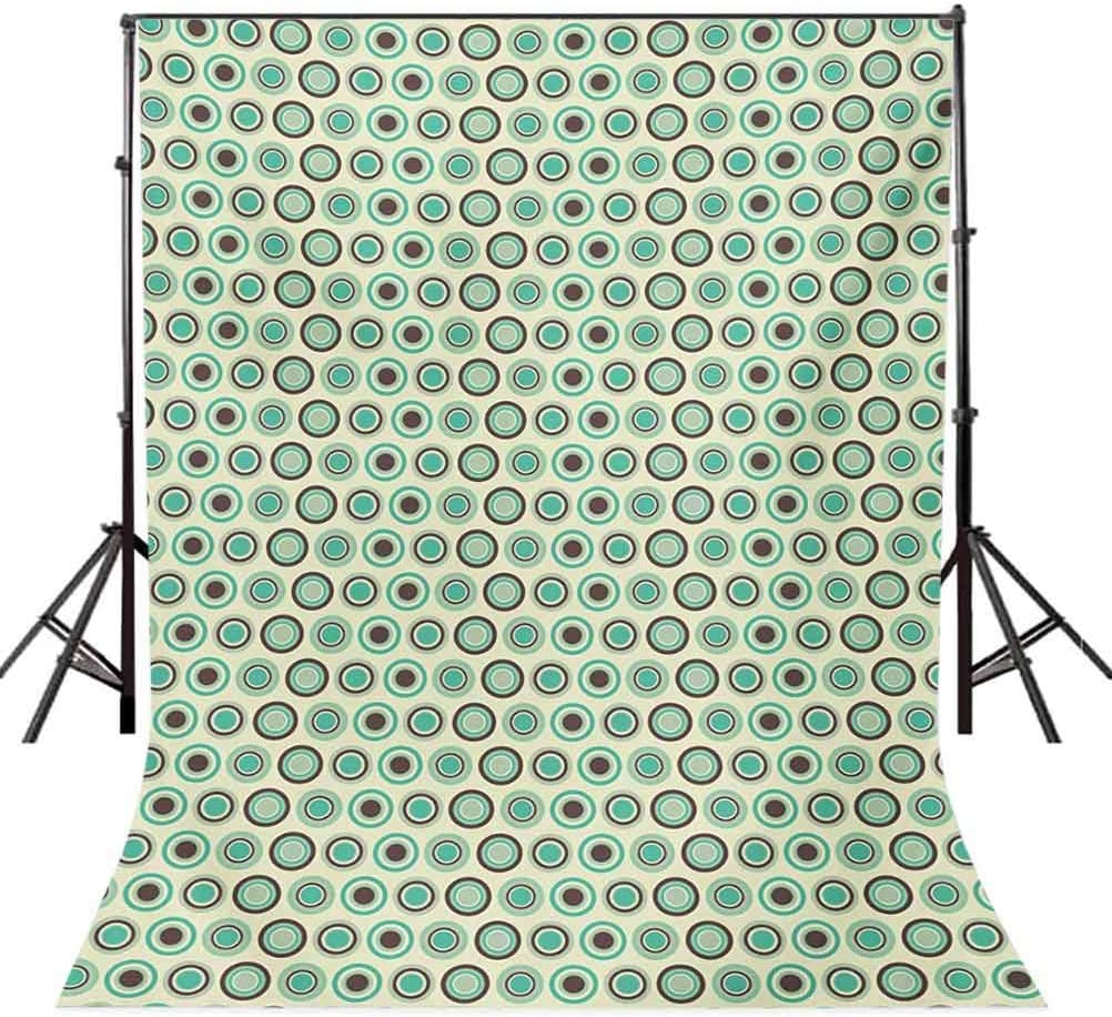 Retro 10x15 FT Photo Backdrops,Polka Dotted Pattern in Pastel Colors Old Fashioned Tile Ring Shapes Background for Kid Baby Boy Girl Artistic Portrait Photo Shoot Studio Props Video Drape Vinyl