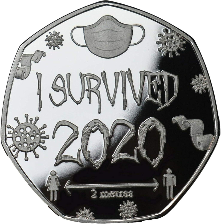 plata ARONTIME I Survived 2020 monedas conmemorativas chapadas en plata y oro 50p forma 2020 regalo cl/ásico conmemorativo