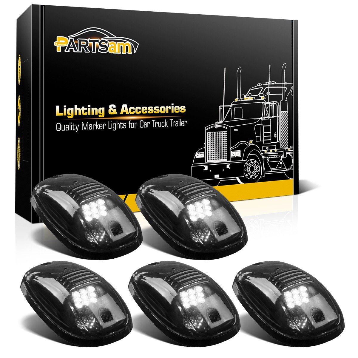 Amazon.com: Partsam LED Cab Lights 5PCS Smoke Cab Marker Roof Running Lights  Top Clearance White 9 LED Assembly Replacement For 2003-2018 Dodge Ram 1500  ...