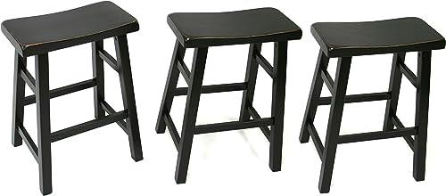eHemco Heavy-Duty 24 Saddle Seat Barstools, Black, Set of 3