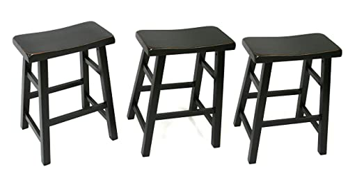 Set of 3 Heavy Duty Saddle Seat Barstool