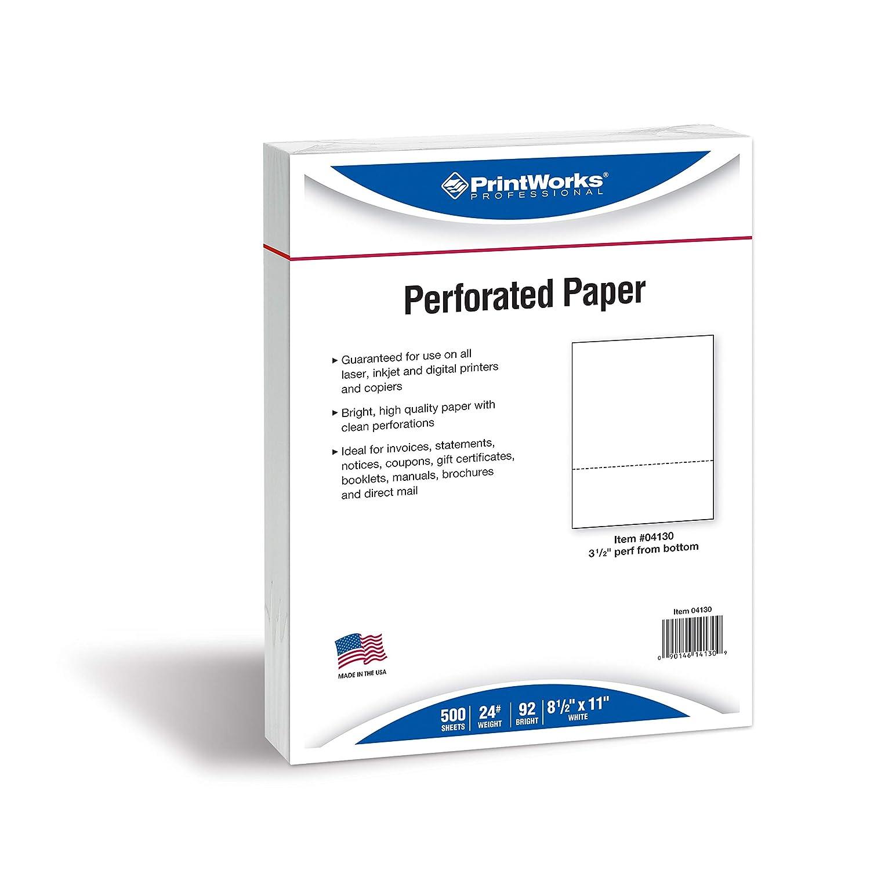 Printworks Professionelle Professionelle Professionelle Papier, 500 Blatt, horizontale Perf 9 cm (3 1 2 Zoll) perforiert, 500 Bögen 8.5 x 11, 24 lb. weiß B01M025BT0 | Online Outlet Shop  | Schnelle Lieferung  | Wir haben von unseren Kunden Lob erhalten.  36ae7d