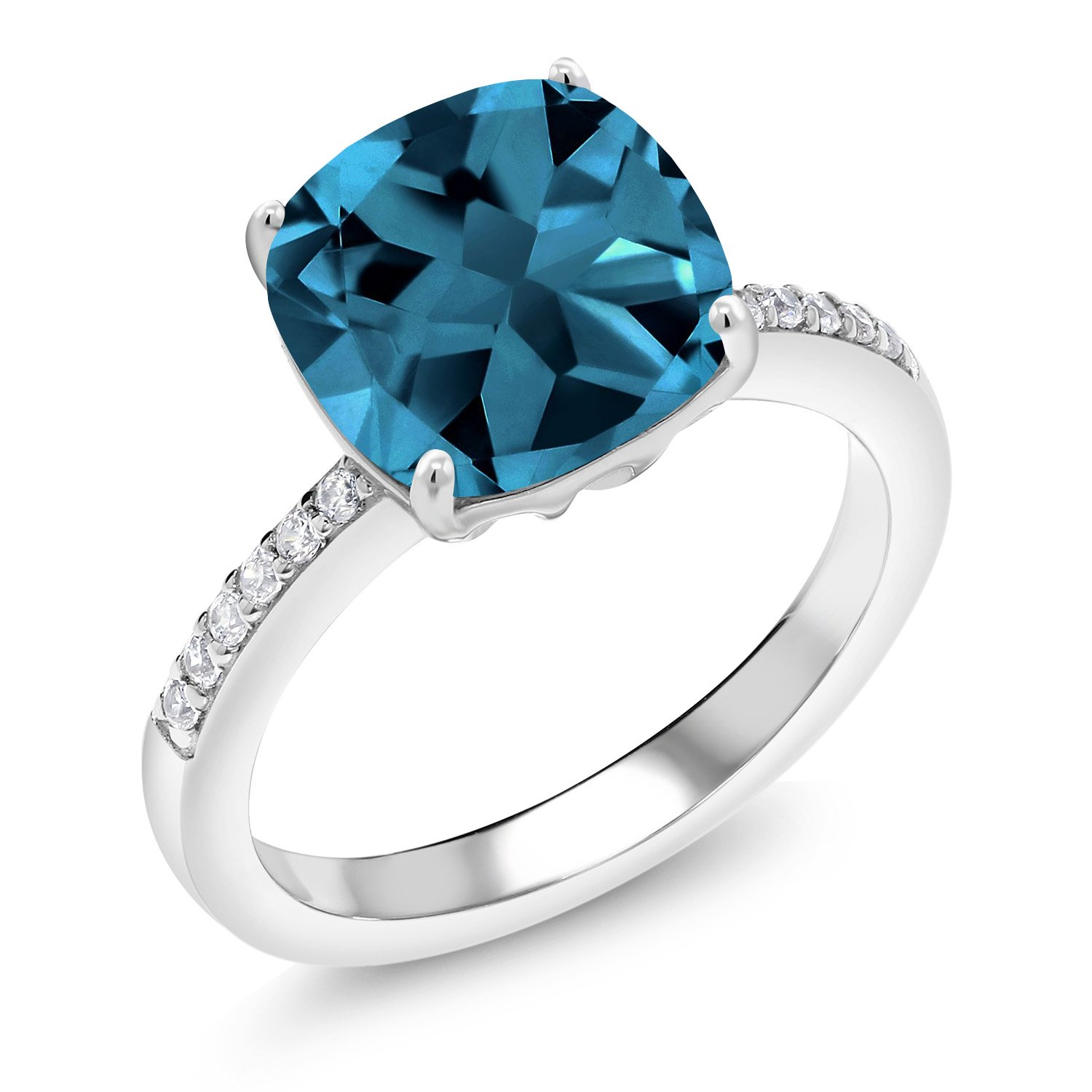 Gem Stone King 925 Sterling Silver London Blue Topaz Women S Engagement Ring 4 47 Cttw Cushion Cut Gemstone Birthstone Available 5 6 7 8 9