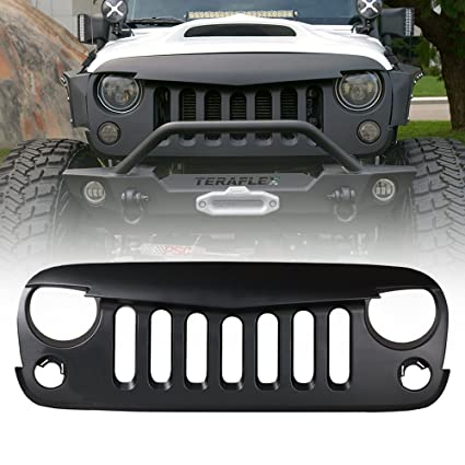 Xprite Black Front Matte Grill Angry Bird Grille Grid For 2007 2018 Jeep Wrangler Rubicon