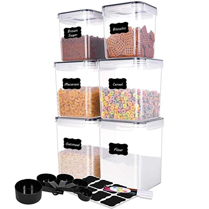 ME.FAN Food Storage Containers [Set of 6] Pantry Bulk Food Canisters-Flour Container Airtight Storage Keeper with 5 Set Measuring Cups 24 labels & Pen Ideal for Sugar, Flour, Baking Supplies - Black