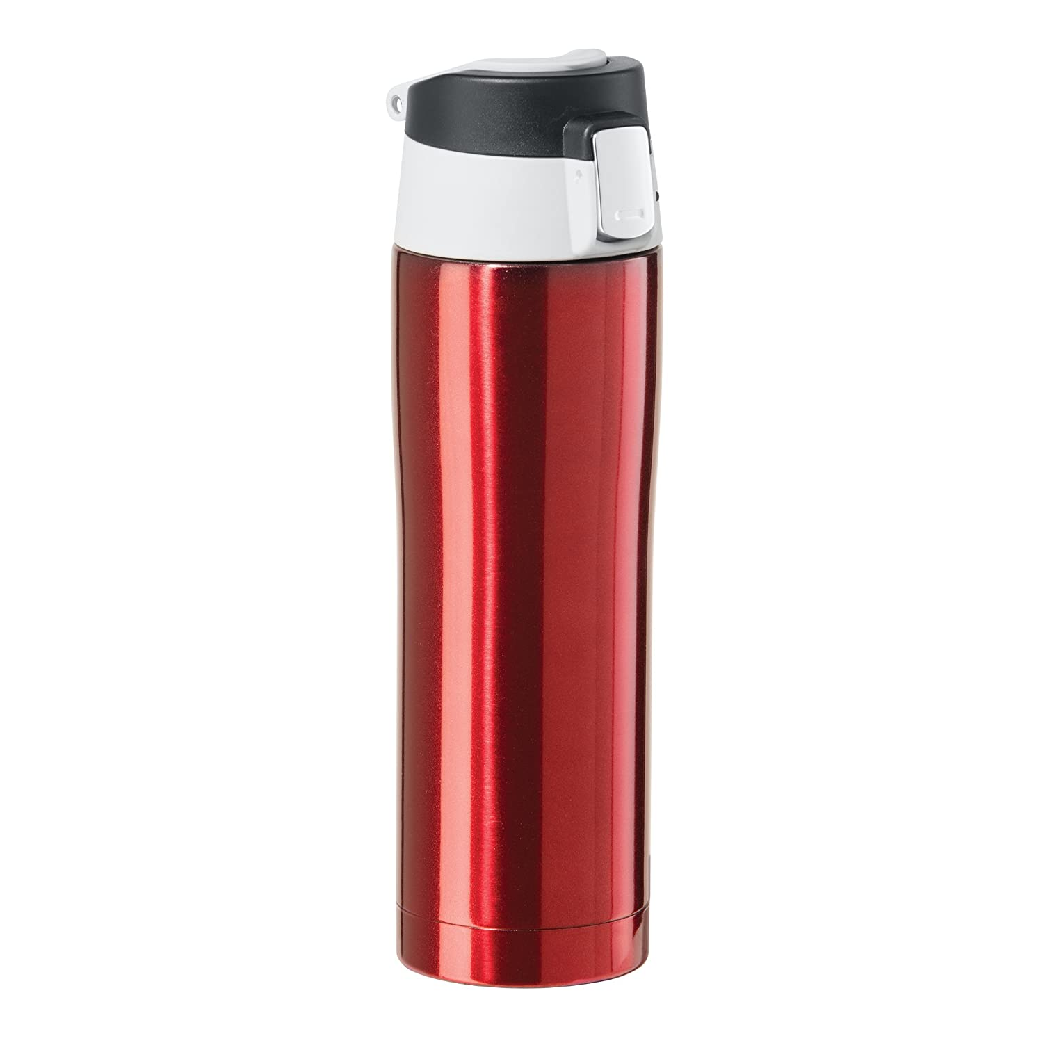 Oggi 8078.2 Double Wall Vacuum Sealed Stainless Steel Travel Mug with Flip-Open Locking Lid (0.5 Lt./16 Oz.)-Red by Oggi B01CUS76WE  レッド